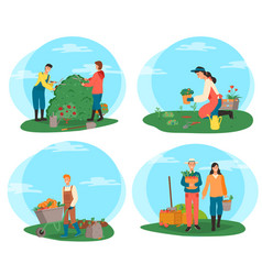 Farmers working on plantation harvesting people vector