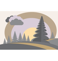 fir tree hills sun cloud vector image