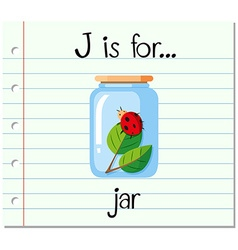 Flashcard letter J is for jar vector image