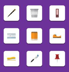 Flat icon stationery set of trashcan pushpin nib vector