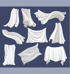 Flat set of white cloth silk bed sheet vector