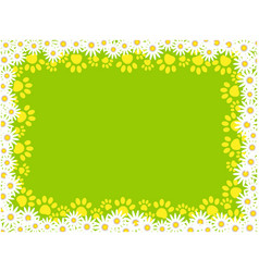 floral frame with paw prints on green background vector image