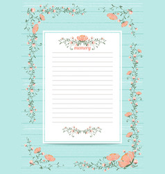 Flowers poster template memory book with blossoms vector