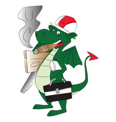 fly dragon carrying work tools and smoking cigar vector image