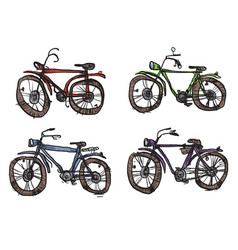 Four bicycles a primitive style vector
