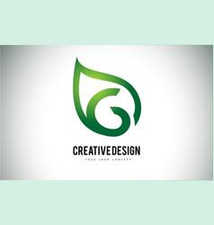 G leaf logo letter design with green leaf outline vector