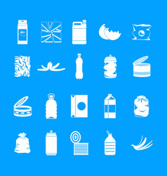 garbage icon blue set vector image