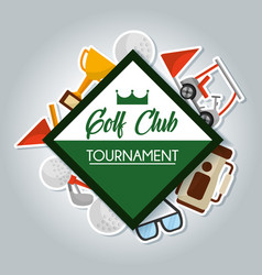 golf club tournament card bag trophy ball clubs vector image