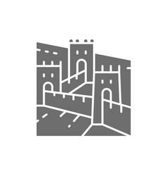 great wall of china landmark grey icon vector image