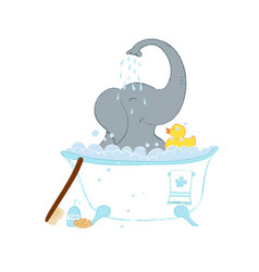 Hand drawn with a cute baby elephant in bath vector