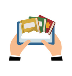 Hand using tablet with ebooks vector