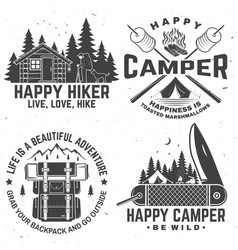 Happy camper concept for vector