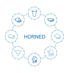 Horned icons vector