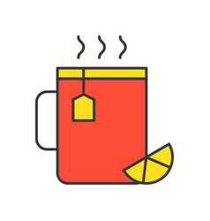 hot lemon tea food set filled outline icon vector image