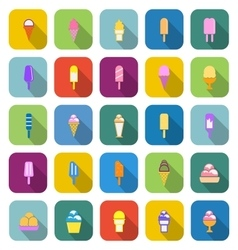 Ice cream color icons with long shadow vector image