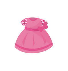 icon of adorable pink dress with bow for little vector image