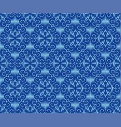 Indigo dyed ikat seamless pattern ethnic ornament vector