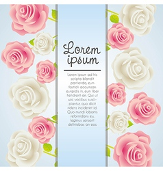 Invitation card with colorful roses vector image