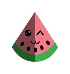 Kawaii nice happy watermelon icon vector