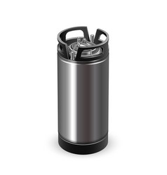 Modern black and chrome metallic keg barrel vector