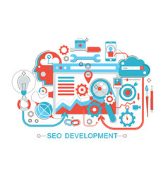 Modern flat thin line design seo and development vector