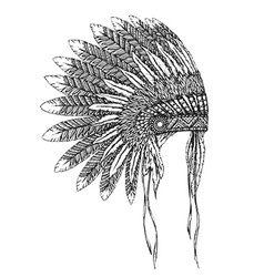 Native american indian headdress with feathers vector