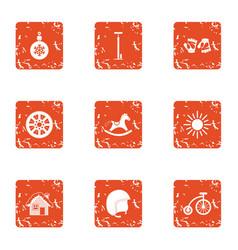 Nearest year icons set grunge style vector