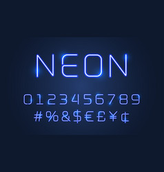 neon light font alphabet numbers and special vector image