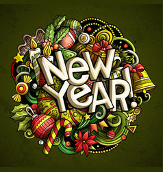 new year doodles objects and elements vector image