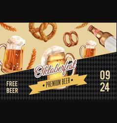 Oktoberfest frame design with beer and pretzel vector
