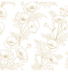 Pattern of golden poppy flowers on a white vector