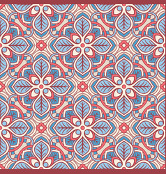 Pink and blue floral pattern vector