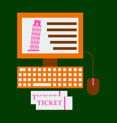 Pisa tower on computer and ticket vector