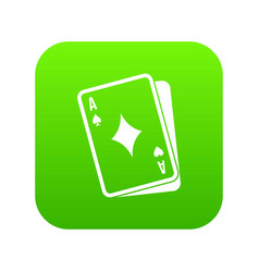 playing card icon digital green vector image