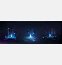 Portal and hologram futuristic circle elements vector