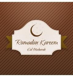 Ramadan Kareem Eid Mubarak paper Card with Ribbon vector