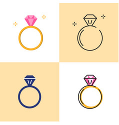 ring with diamond icon set in flat and line styles vector image