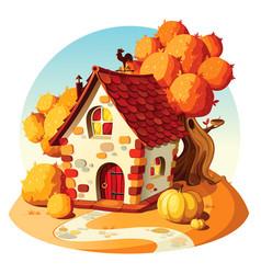 Rustic stone house autumn landscape vector