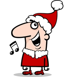 Santa singing carol cartoon vector