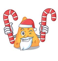 Santa with candy nachos mascot cartoon style vector