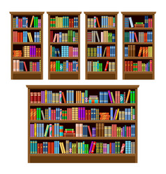 set bookcases on a white background furniture vector image