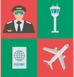 Set of airport flat icons signs and symbol vector