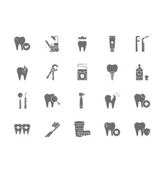 set of dentistry grey icons toothpaste implant vector image