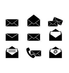 set of envelopes letters icons vector image