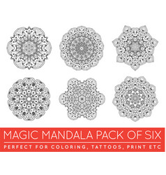 Set of ethnic fractal mandala meditation tattoo vector