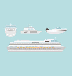 set of flat yacht boat and cruise ship with blue vector image
