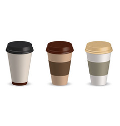 set of paper cup coffee cup vector image