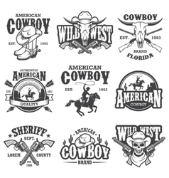 Set of vintage cowboy emblems vector image