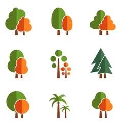 set tree icons vector image