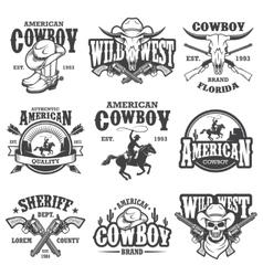 Set vintage cowboy emblems vector